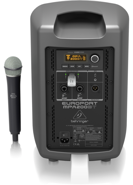 Behringer MPA200BT All-in-One Portable 200-Watt Speaker with Wireless Microphone, Remote Control via Smart Phone, Bluetooth Audio Streaming and Battery Operation