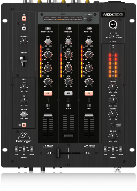 Behringer NOX303 Premium 3 Channel DJ Mixer with INFINIUM 'Contact-Free' VCA Crossfader, Beat-Syncable FX and USB Audio Interface
