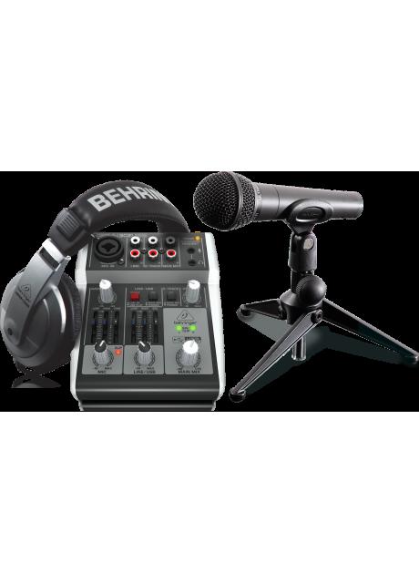 Behringer PODCASTUDIO 2 USB Complete PODCASTUDIO Bundle with USB Mixer, Microphone, Headphones and More