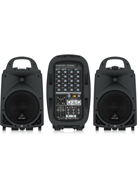 Behringer PPA500BT Ultra-Compact 500 Watt 6 Channel Portable PA System with Bluetooth Wireless Technology, Wireless Microphone Option, Klark Teknik Multi-FX Processor and FBQ Feedback Detection