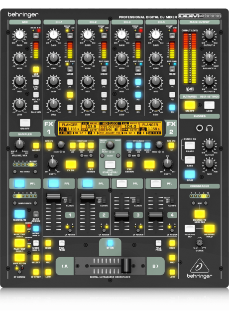 Behringer DDM4000 Ultimate 5 Channel Digital DJ Mixer with Sampler, 4 FX Sections, Dual BPM Counters and MIDI