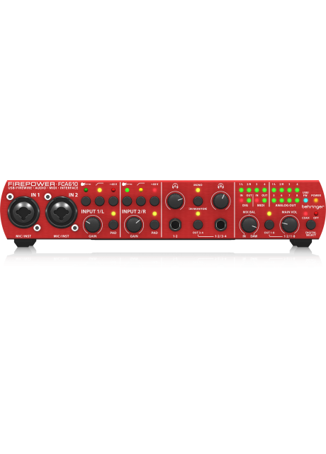 Behringer FCA610 Audiophile 6 In/10 Out, 24-Bit/96 kHz FireWire/USB Audio/MIDI Interface with Midas Preamplifiers