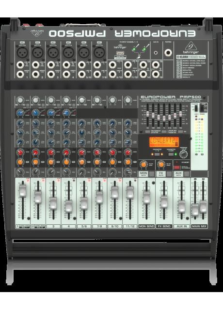Behringer PMP500 500 Watt 12 Channel Powered Mixer with Klark Teknik Multi-FX Processor