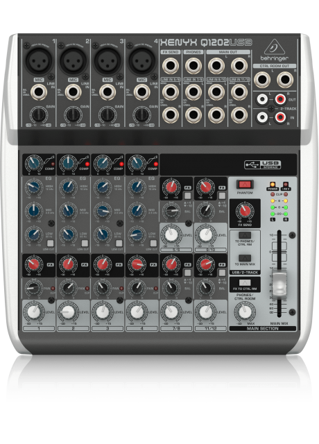 Behringer Q1202USB Premium 12-Input 2-Bus Mixer with XENYX Mic Preamps and Compressors, British EQ and USB/Audio Interface