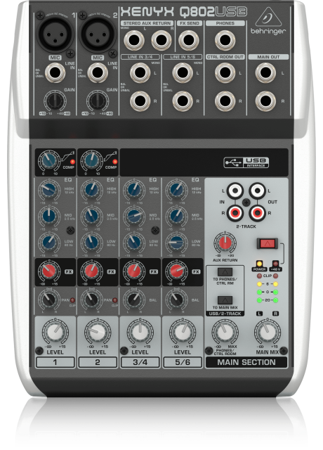 Behringer Q802USB Premium 8-Input 2-Bus Mixer with XENYX Mic Preamps and Compressors, British EQ and USB/Audio Interface