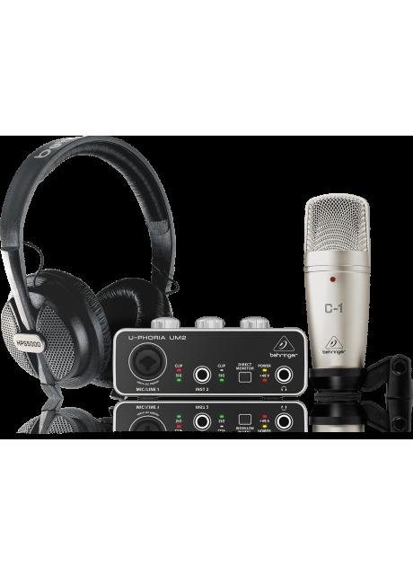 Behringer U-PHORIA STUDIO Complete Recording/Podcasting Bundle with USB Audio Interface, Condenser Microphone, Studio Headphones and More