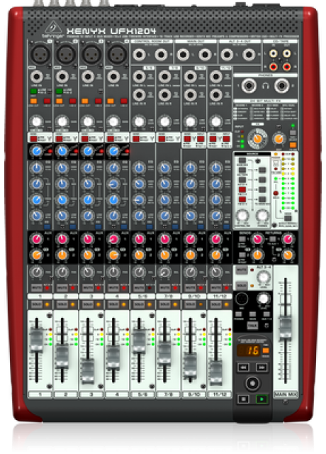 Behringer UFX1204 Premium 12-Input 4-Bus Mixer with 16x4 USB/FireWire Interface, 16-Track USB Recorder, XENYX Mic Preamps and Compressors, British EQ and Multi-FX Processor