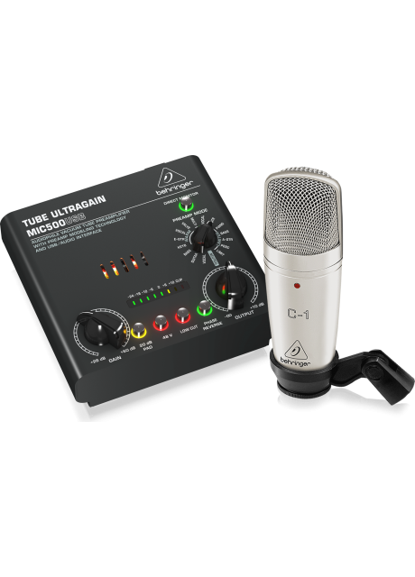 Behringer VOICE STUDIO Complete Recording Bundle with Studio Condenser Mic, Tube Preamplifier with 16 Preamp Voicings and USB/Audio Interface