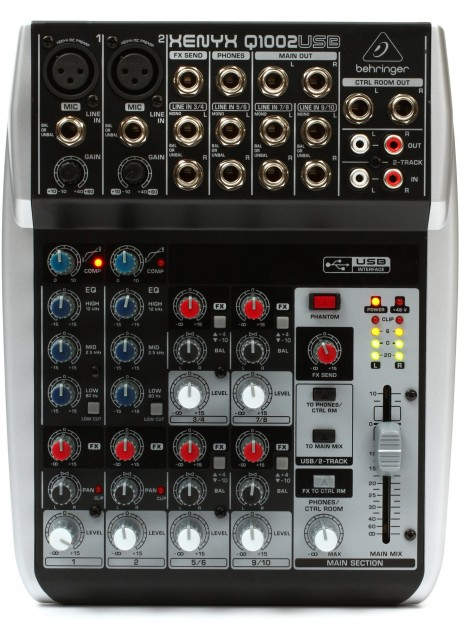 BEHRINGER Q1002USB Premium 10-Input 2-Bus Mixer with Xenyx Mic Preamps